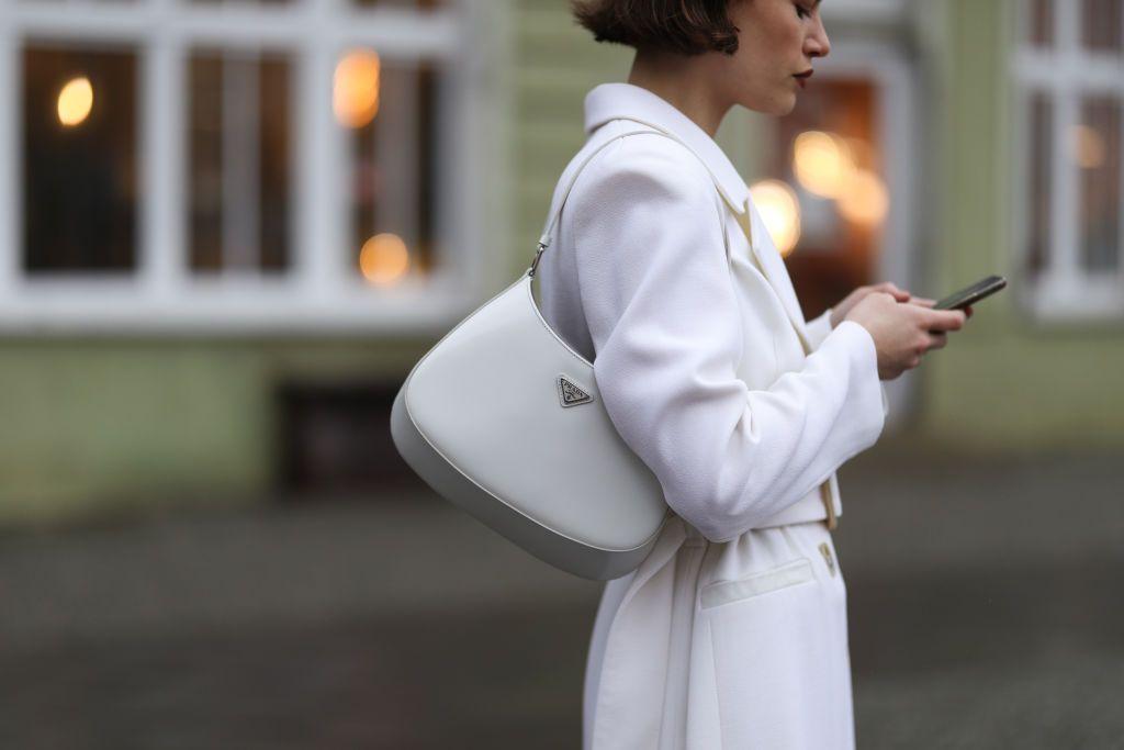 White Prada handbag